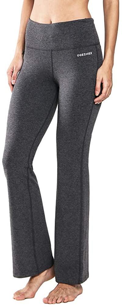 Ogeenier Power Flex Bootcut Cotton Yoga Pants with Inner Pockets High Waist Workout Pants Tummy Control Bootleg Work Pants