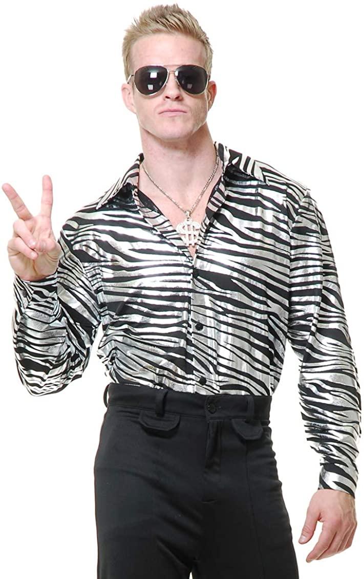 Adult Fuchsia Zebra Print Disco Shirt