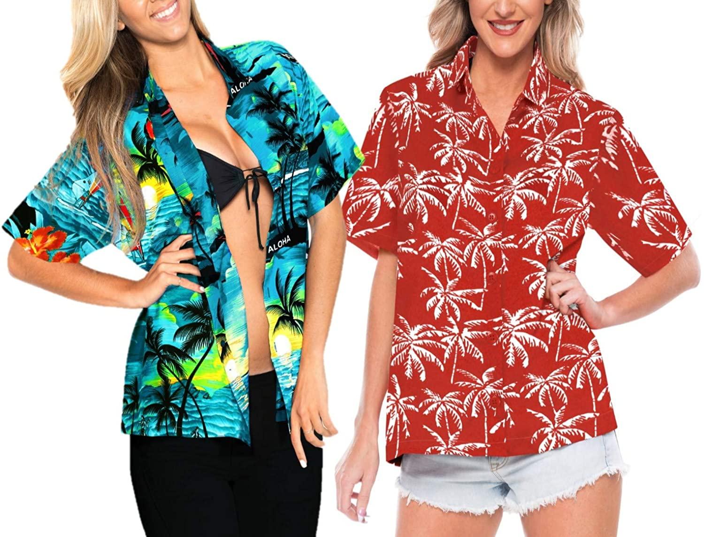 LA LEELA Women's Relaxed Hawaiian Shirt Blouse Tops Button Up Shirt Work from Home Clothes Women Beach Shirt Blouse Shirt Combo Pack of 2 Size M