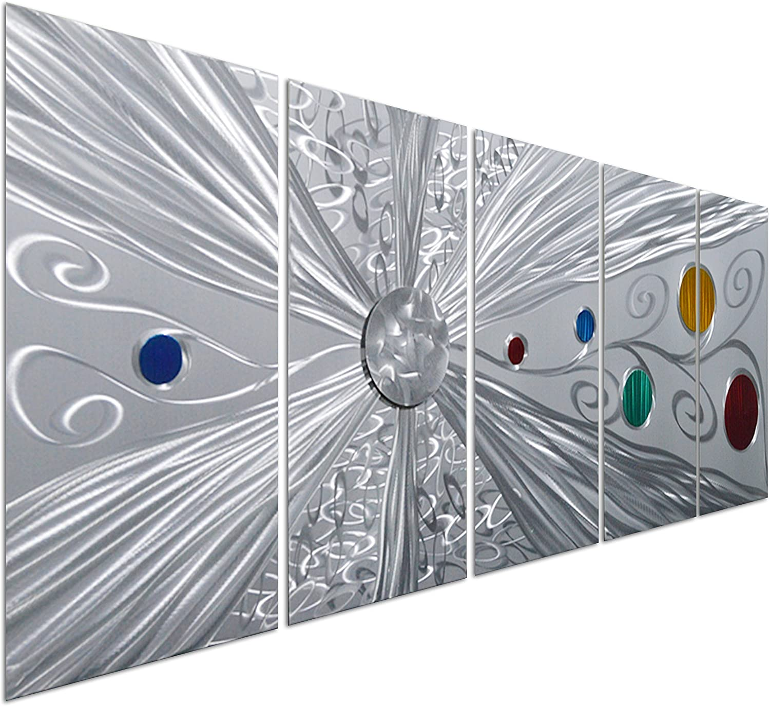Pure Art Silver Solstice - Metal Wall Art Decor - Abstract Modern Space Silver with Red, Yellow, Green and Blue Circles, Hanging Sculpture - Set of 5 Panels for Your Home or Office - 64