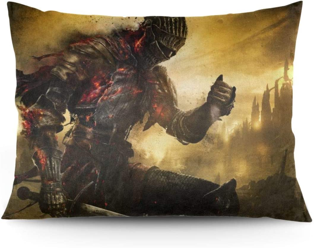 ZLCMMF Game Dark Souls Throw Pillow Covers Decorative Cotton Pillowcases for Living Room Sofa Couch Bed Soft Pillow Cases 20 x 26 Inch