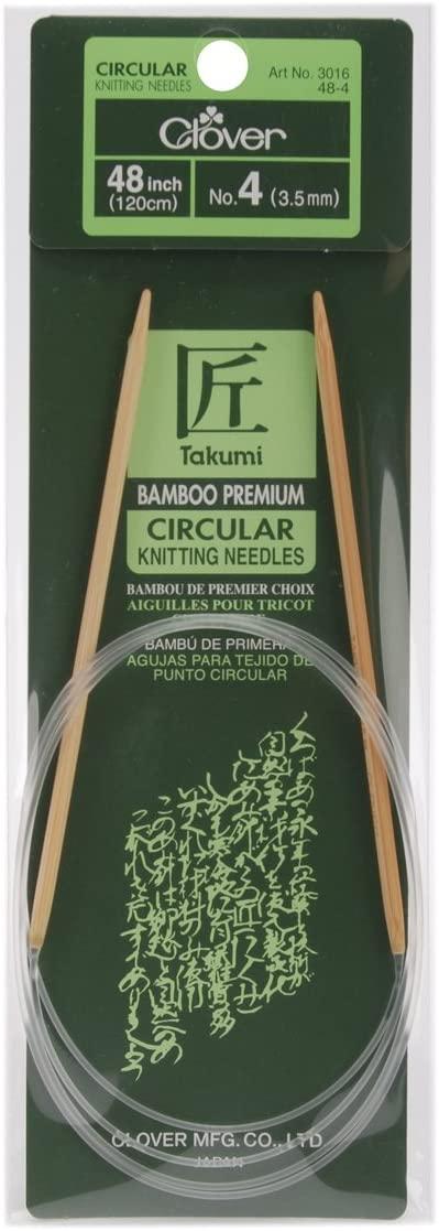 CLOVER Takumi Bamboo Circular 48-Inch Knitting Needles, Size 4