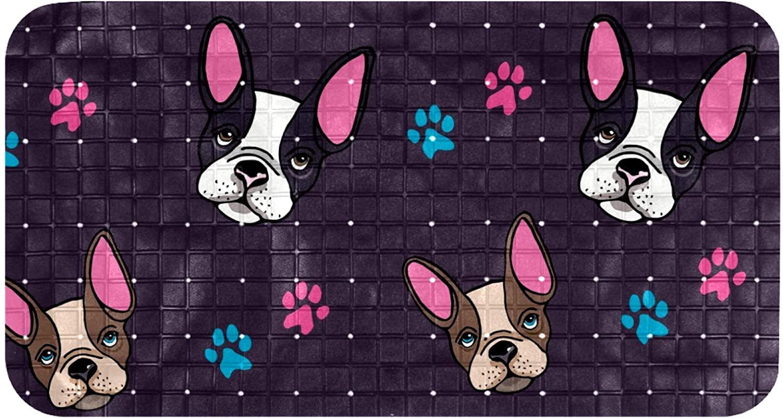Shower Mat Non Slip, French Bulldog Puppies Dog Head Paws Silhouette Bathtub Mats for Shower 14.7x26.9 Inch Long Tub Non-Slip Bathroom Bath Mat with Drain Holes and Suction Cups