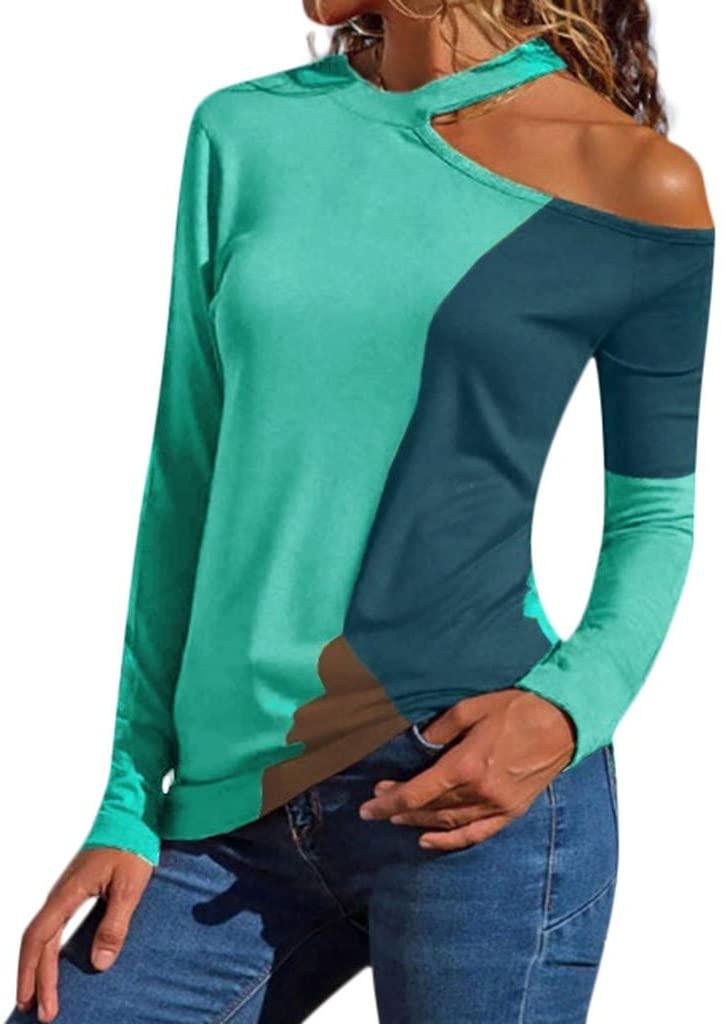Long Sleeve T-Shirt for Women THENLIAN Plus Size Women Off Shoulder Asymmetric Patchwork Color Block T-Shirts