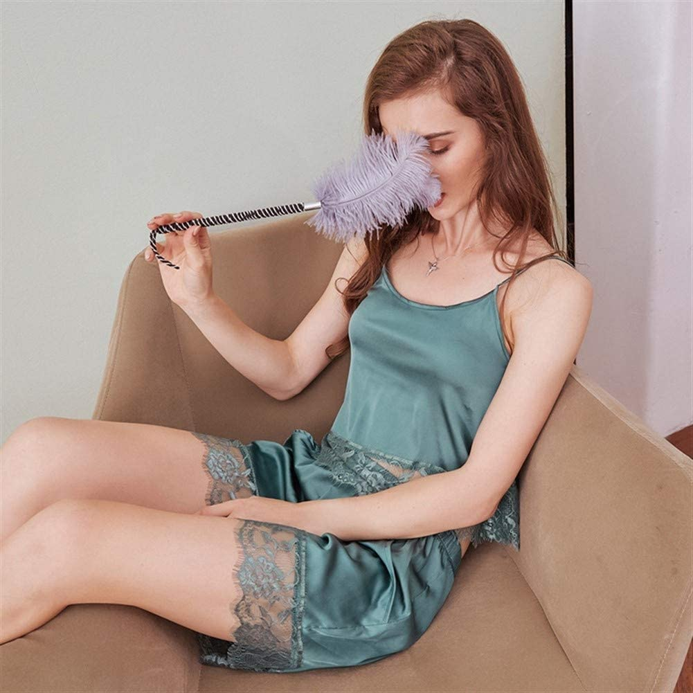 Lace Shorts Summer Ice Silk Pajamas Princess Nightgown Women's Two Piece Fitted Tracksuit Ms. Sexy Lingerie Bodysuit Sexy Clothing Lace Uniform Suit J1106 (Color : Green, Size : XL)