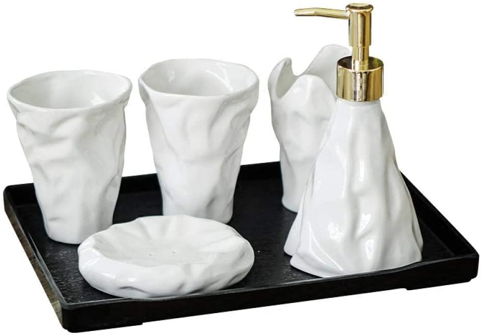 APAN Five-Piece Bathroom Set Four-Piece Bathroom Ceramic Set Bathroom Toiletries Wash Set Toothbrush Mouth Mug Wedding Simple