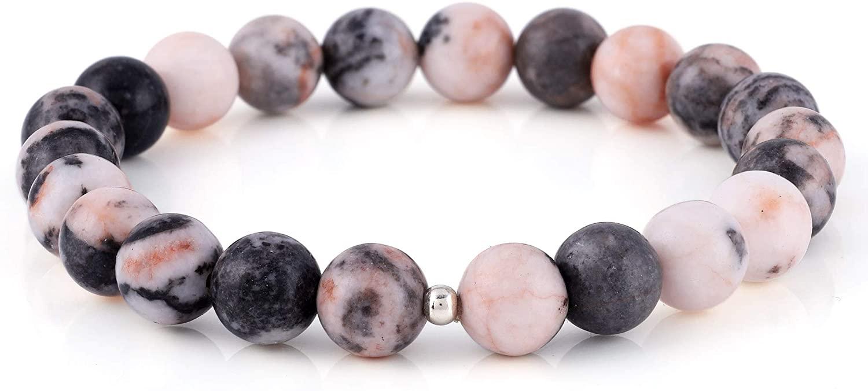 Natural Pink Zebra Jasper Gemstone bead Stretchable Bracelet, 925 Sterling silver ball Fashionable Gemstone Jwelery Gift For Her Him