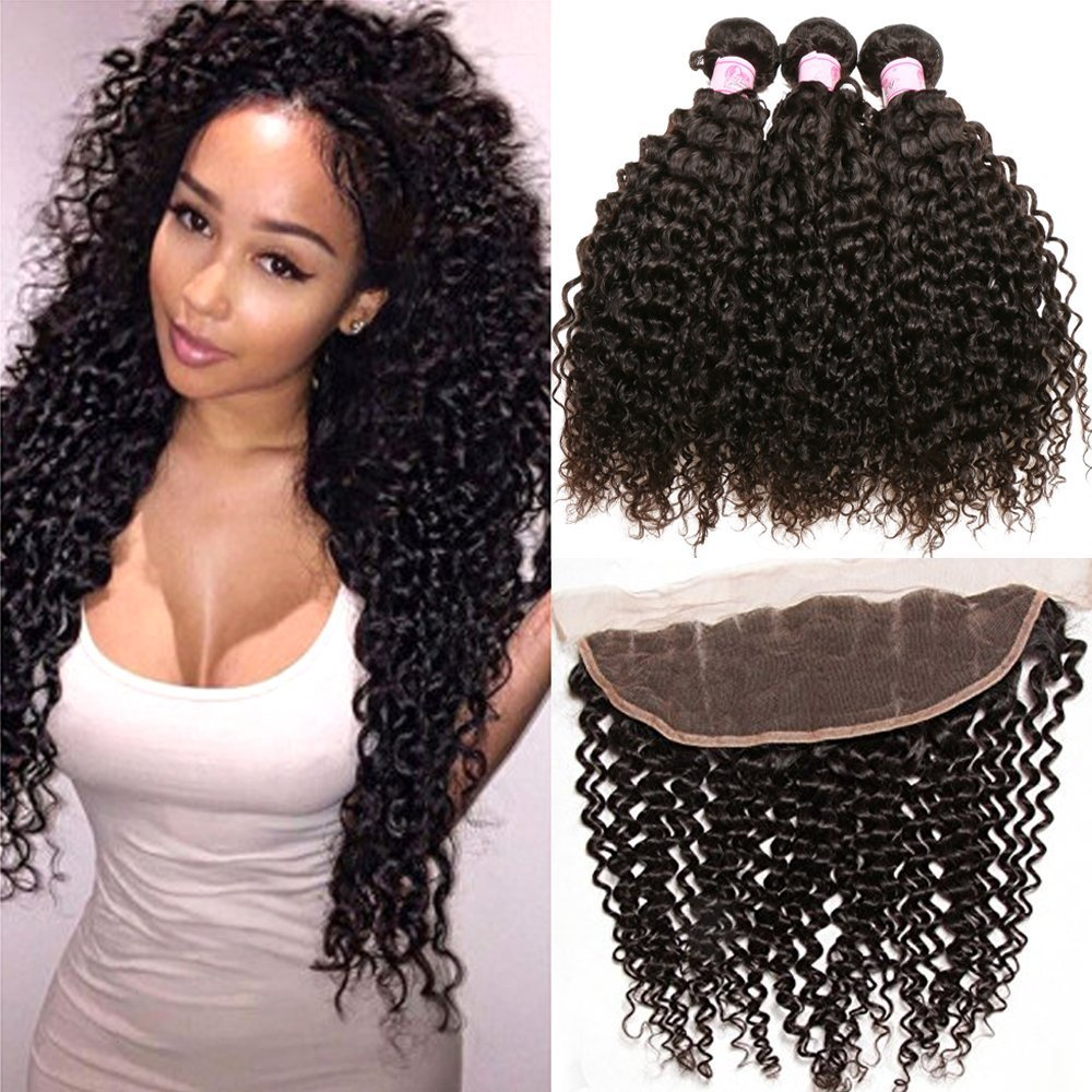 Beauty Forever Malaysian Curly Hair 3 Bundles Virgin Hair with 13x4 Lace Frontal Closure Free Part Unprocessed Human Virgin Curly Hair Weave Natural Color (12 14 16 with 10 frontal)