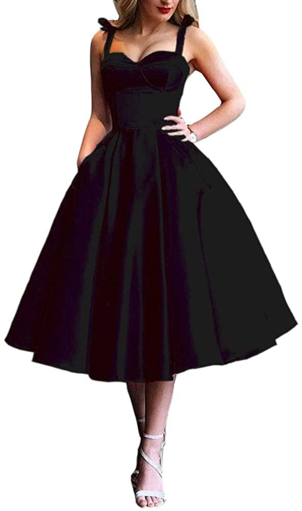 Yuki Isabelle Women's Satin Short Homecoming Dresses Bow Shoulder Straps Prom Party Cocktail Dresses