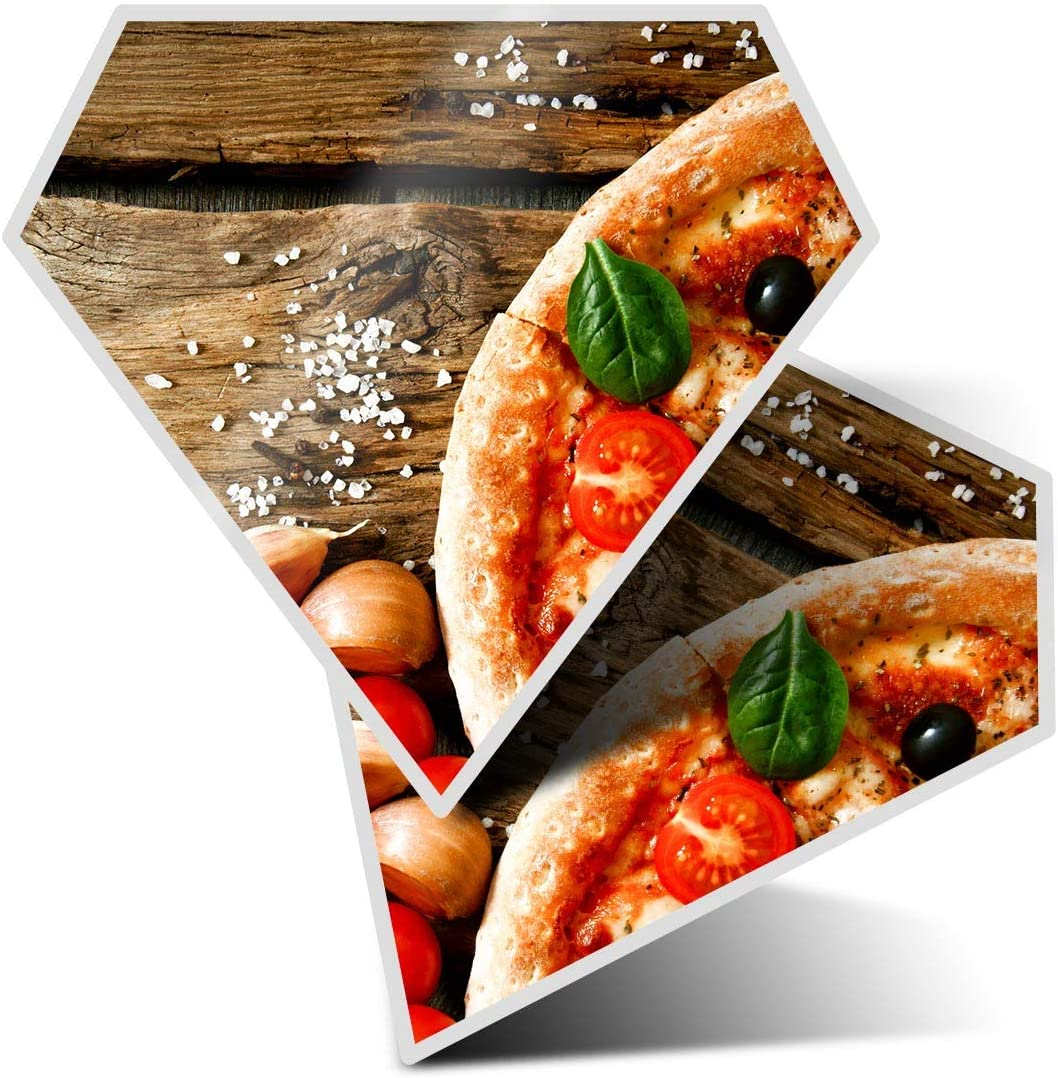 Awesome 2 x Diamond Stickers 7.5 cm - Tasty Italian Pizza Tomato Fun Decals for Laptops,Tablets,Luggage,Scrap Booking,Fridges,Cool Gift #3733