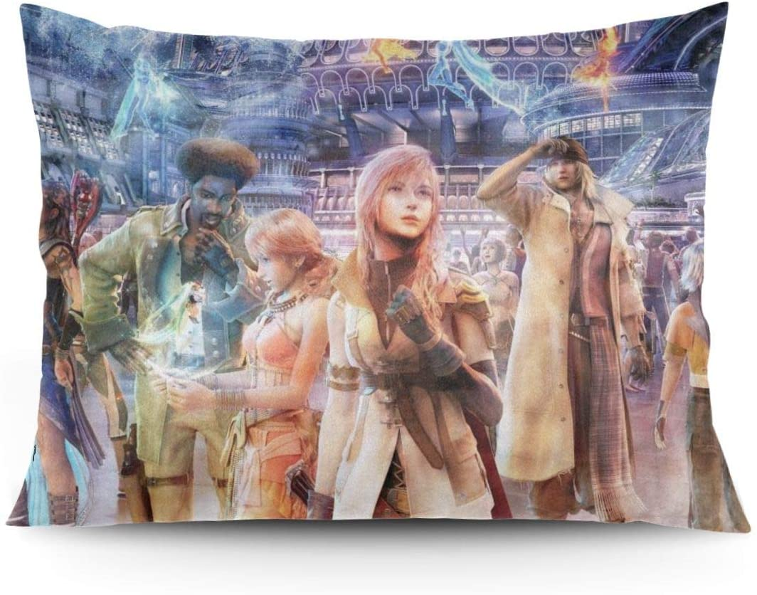 ZLCMMF Final Fantasy Game Throw Pillow Covers Decorative Cotton Pillowcases for Living Room Sofa Couch Bed Soft Pillow Cases 20 x 26 Inch