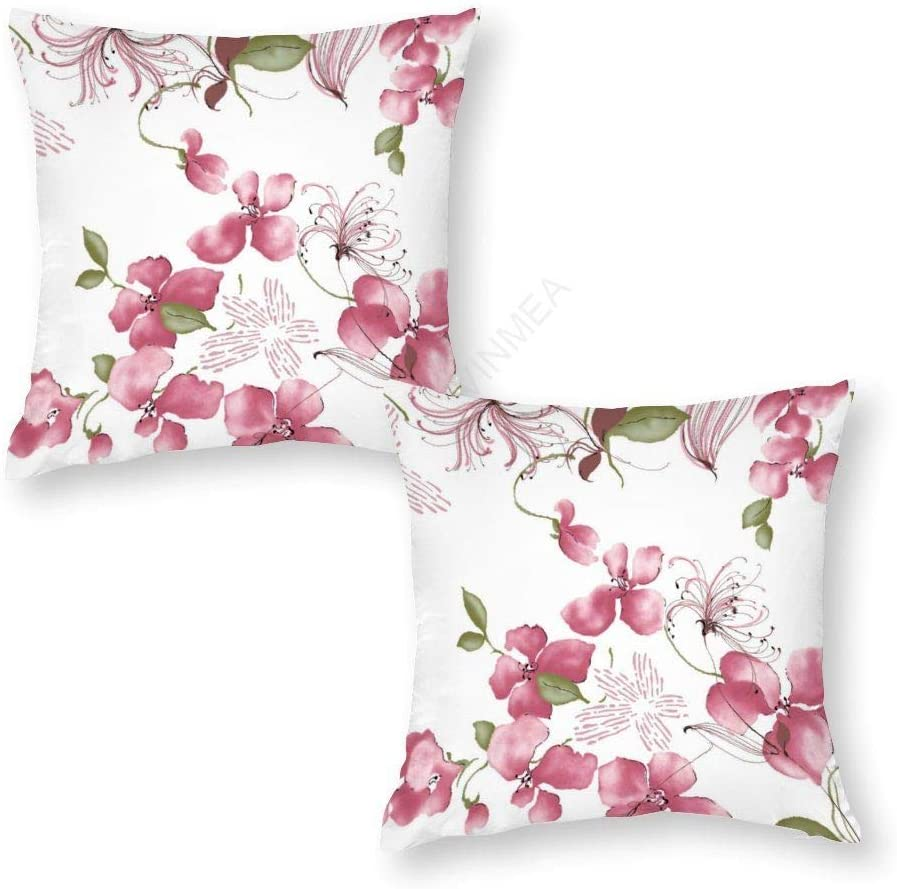 VinMea Set of 2 Cotton Decorative Square Throw Pillowcases Pink Cherry Bloom Covers for Sofa Bedroom Car Floor 16x16 Inches