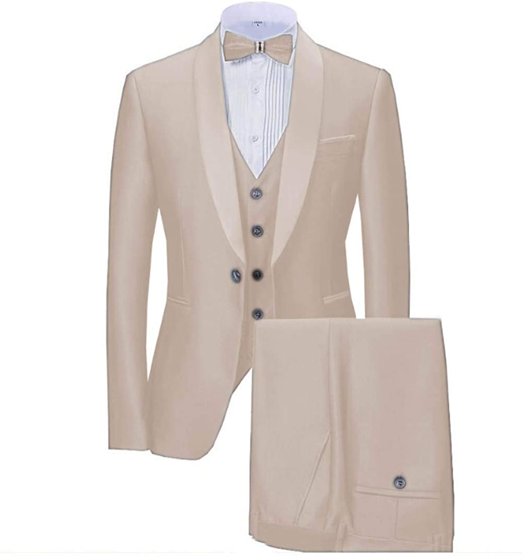 Mens Suits 3 Pieces Formal Business Flat Tailcoat Tuxedos Shawl Lapel for Wedding Best Man (Blazer+Vest+Pants)