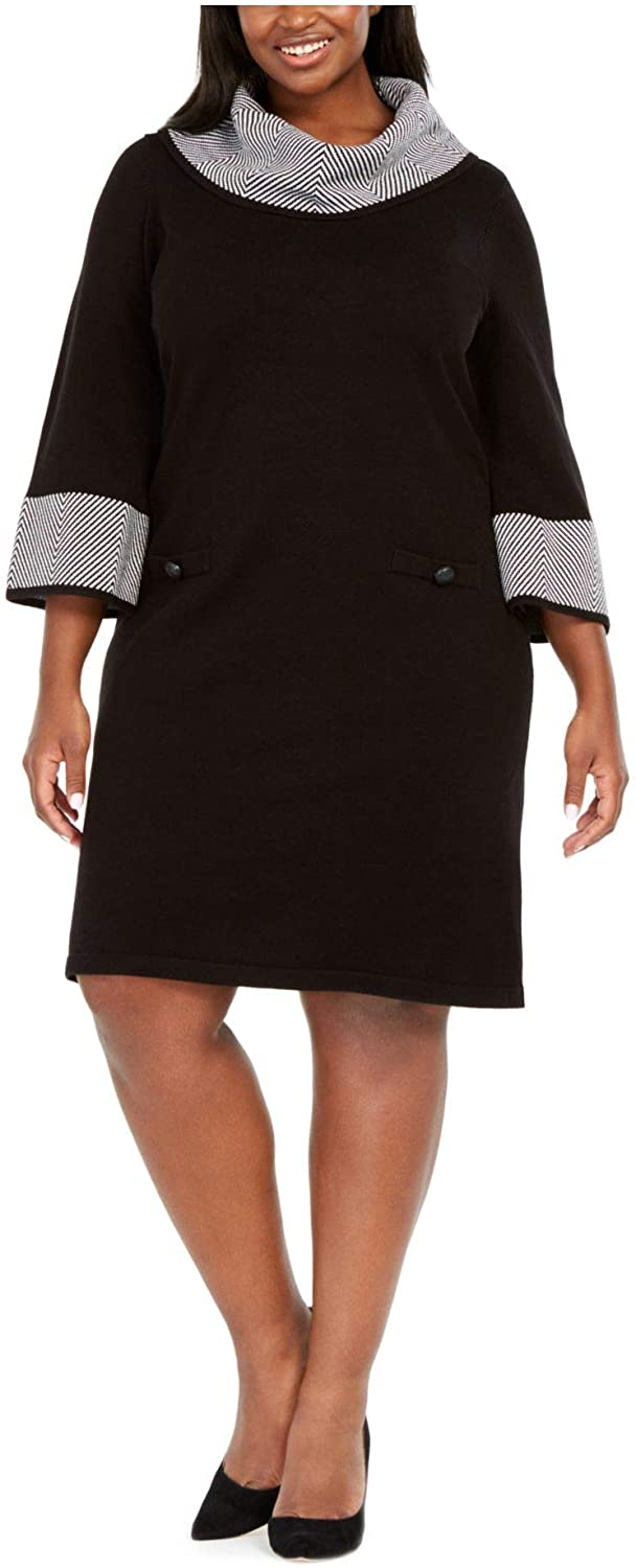 Jessica Howard Womens Black Houndstooth 3/4 Sleeve Cowl Neck Above The Knee Sheath Dress Size 2X