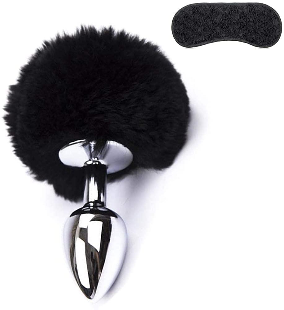 Tcouplesexy Bindfolded Bu-tt Plug Rabbit Tail Cosplay Game Women Christmas Halloween Gifts Black