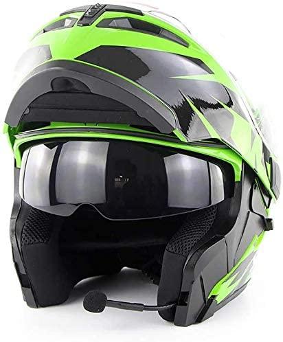 DEWUFAFA Motorcycle Helmet Motocross Helmet Bluetooth/Men and Women Four Seasons Safety Helmet/Stereo Sound Quality (S, M, L, XL, XXL), Helmet (Color : Green, Size : Large)