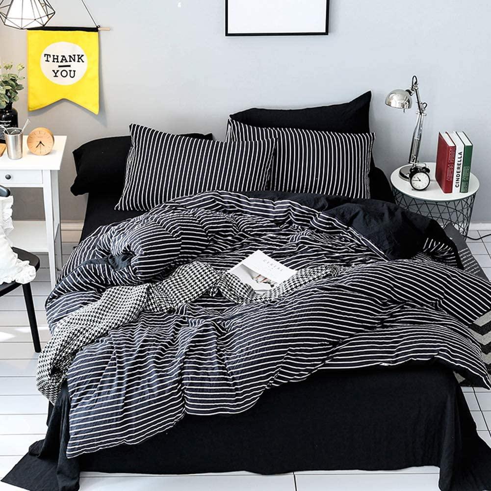 LAMEJOR Duvet Cover Sets Queen Size Striped Pattern Reversible Luxury Soft Bedding Set Comforter Cover (1 Duvet Cover+2 Pillowcases) Black / White
