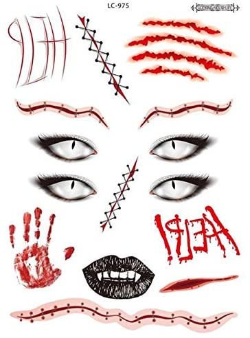 XiaoOu Tattoo Stickers 3Pcs Halloween Face Tattoo Fake Sticker Atmosphere Funny Festival Art Makeup Waterproof Halloween Face Tattoo Sticker Atmosphere,LC-975