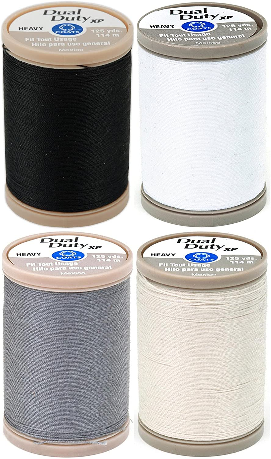 4-PACK - Coats & Clark - Dual Duty XP Heavy Weight Thread - 4 Color Value Pack - (Black+White+Slate+Natural) 125yds Each
