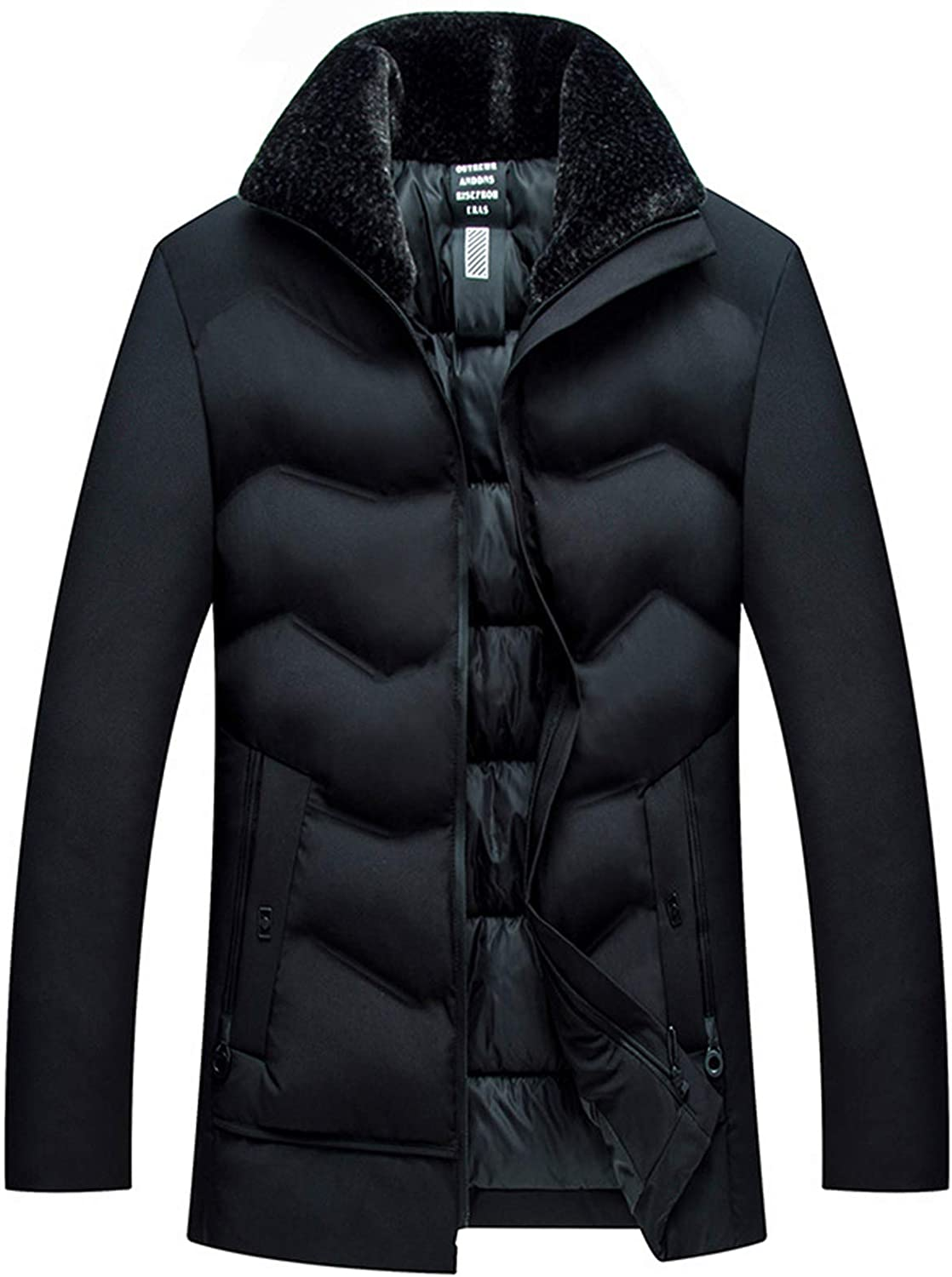 Mens Down Jacket, Warm Anorak Padded, Jackets with Multi Pockets, Insulated Down, Thickened Down Jacket Winter Cotton Clothing-Black, Green