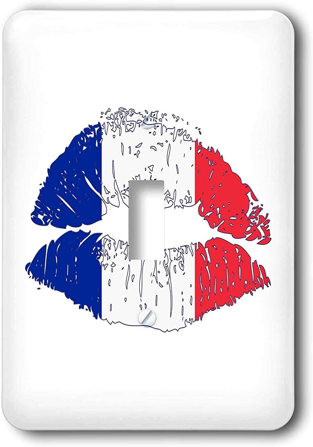 3dRose Woman Lips, Flag of France, White Background. Funny. - Light Switch Covers (LSP_325797_1)