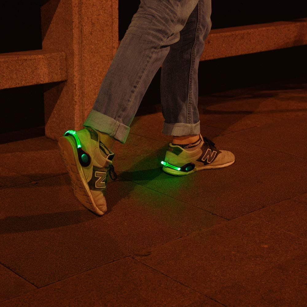 ZKZNsmart LED Shoes Clip Safety Lights USB Rechargeable Color Steady and Flash Modes Suitable for Running, Jogging, Walking or Biking in The Dark (Red/Green/Blue, Pack of 2)