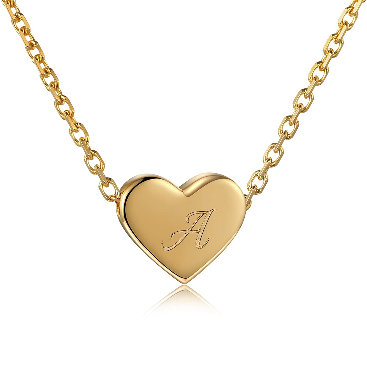 JZCOLOR | Sterling Silver Initial Heart Necklace | 18 K Gold Plated Silver Tiny Love Pendant |Dainty Personalized Letter Choker for Women Girls