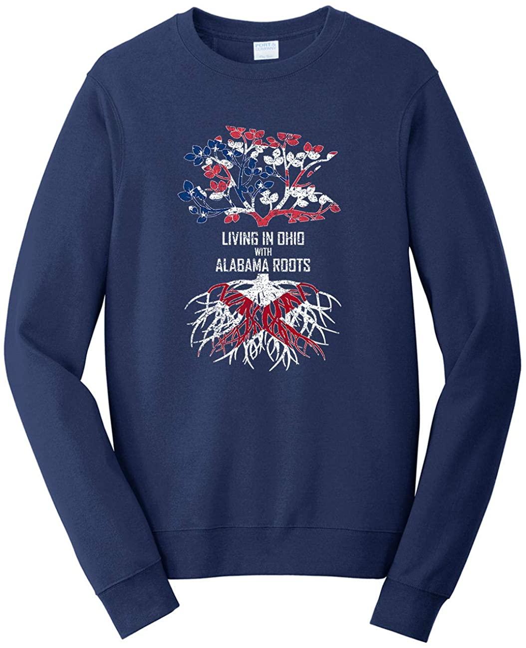HARD EDGE DESIGN Unisex Living in Ohio with Alabama Roots Sweatshirt, Medium, Navy