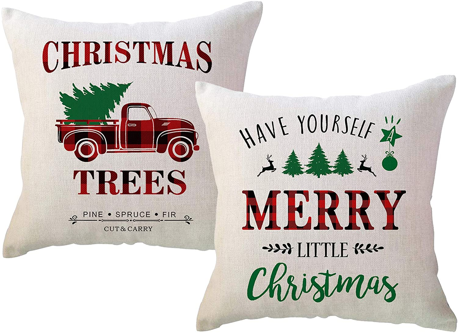 Red/Green Christmas Throw Pillow Covers Have Yourself A Merry Little Christmas with Vintage Xmas Truck Farmhouse Winter Holiday Decorative Cushion Pillowcases for Sofa Couch 18 x 18 Inches,Set of 2