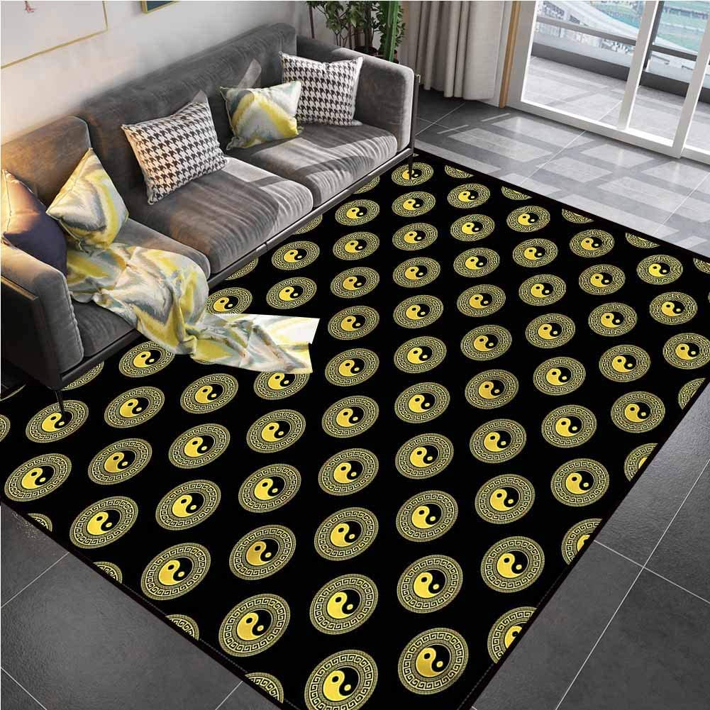 Area Rugs Print Large Carpet Yin Yang,Ancient Greek Style Border Classroom Carpet for Living Dining Dorm Playing Room Bedroom 6'6