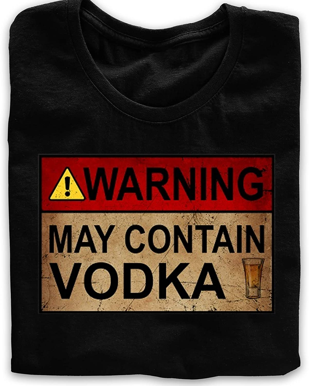 KAPZON Warning May Contain Vodka Funny Alcohol Drinking Wine Vodka T-Shirt