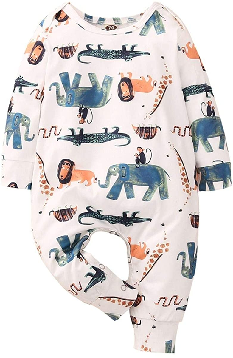 KSK Infant Jumpsuit Baby Boy Toddler Girl Animal Print Sleepwear Clothing Animal Print