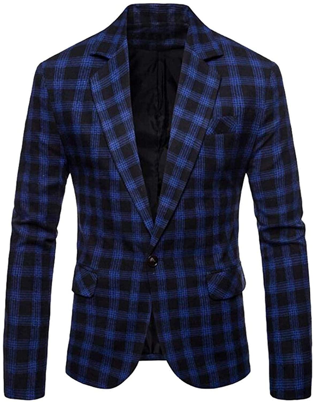 Mens Slim Fit Business Wedding Lapel Collar Casual Plaid Blazer Jacket Coat