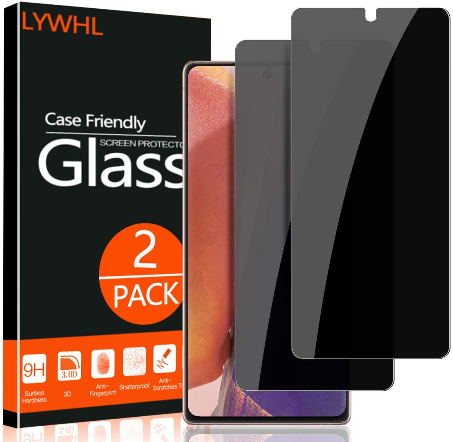 for Samsung Galaxy Note 20 Screen Protector, Galaxy Note 20 Privacy Screen Protector, Anti Spy Anti Peeping Anti Scratch HD Tempered Glass Protective Glass Film Screen Protector for Samsung Galaxy Note 20, Case Friendly, Easy Install (2 Pack - Black)