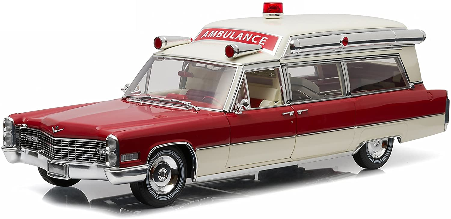 Greenlight Precision Collection 1966 Cadillac S&S 48 High Top Ambulance Vehicle, Red/White