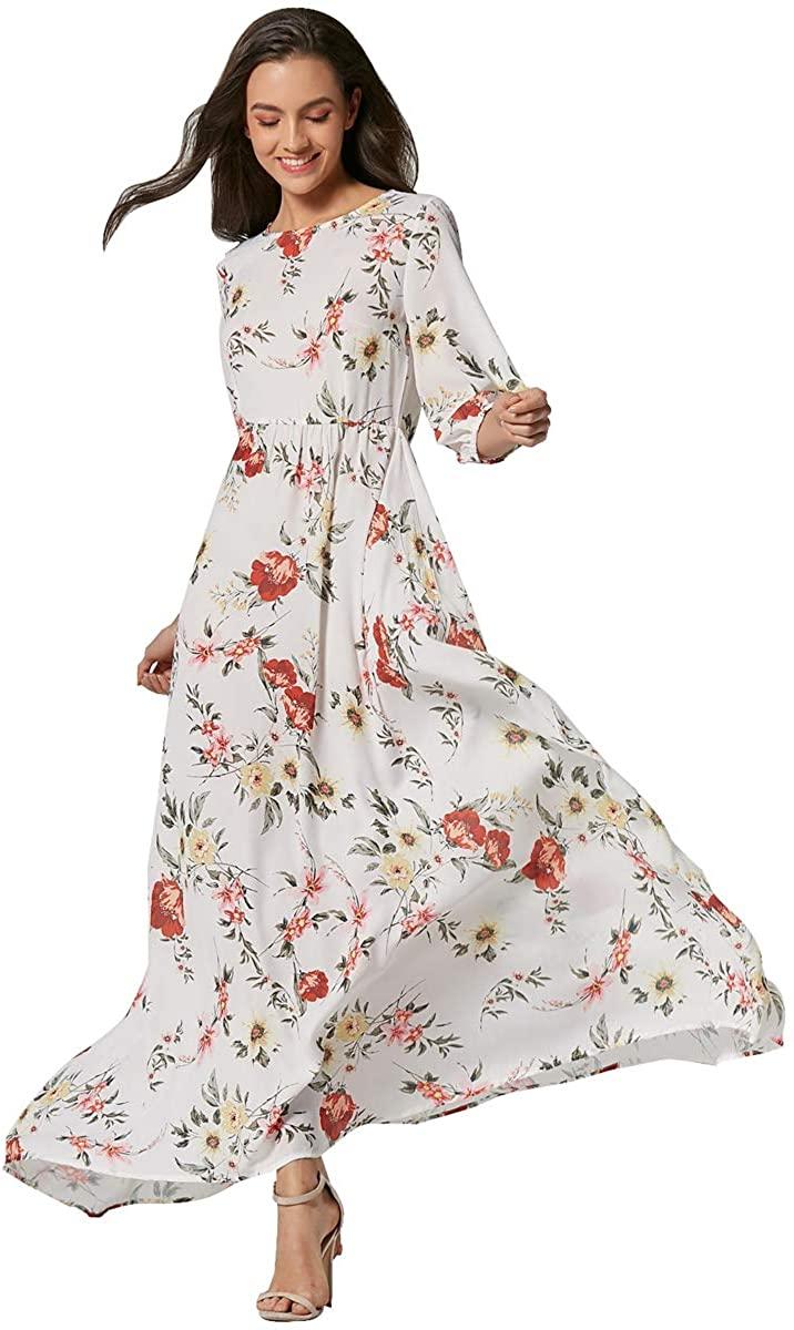 Women's Boho Floral Maxi Dresses Round Neck 3/4 Sleeve Flowy Sundresses Long Swing Summer Beach Dress