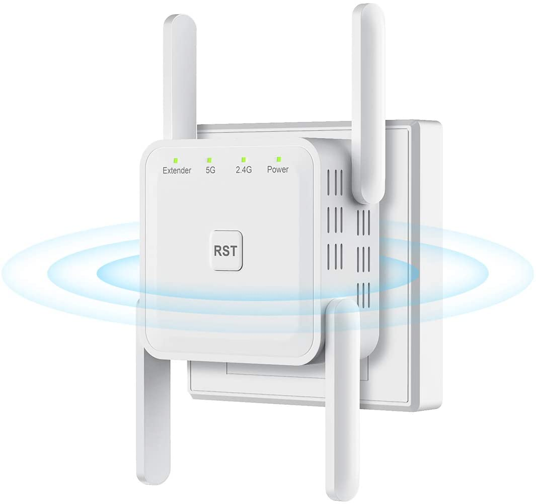 WiFi Range Extender 1200Mbps WiFi Booster AC1200 for The Hourse, Repeater 2.4 & 5GHz Dual Band WPS Wireless Signal Strong Penetrability, Wide Range of Signals(2000FT), Enjoy Gaming