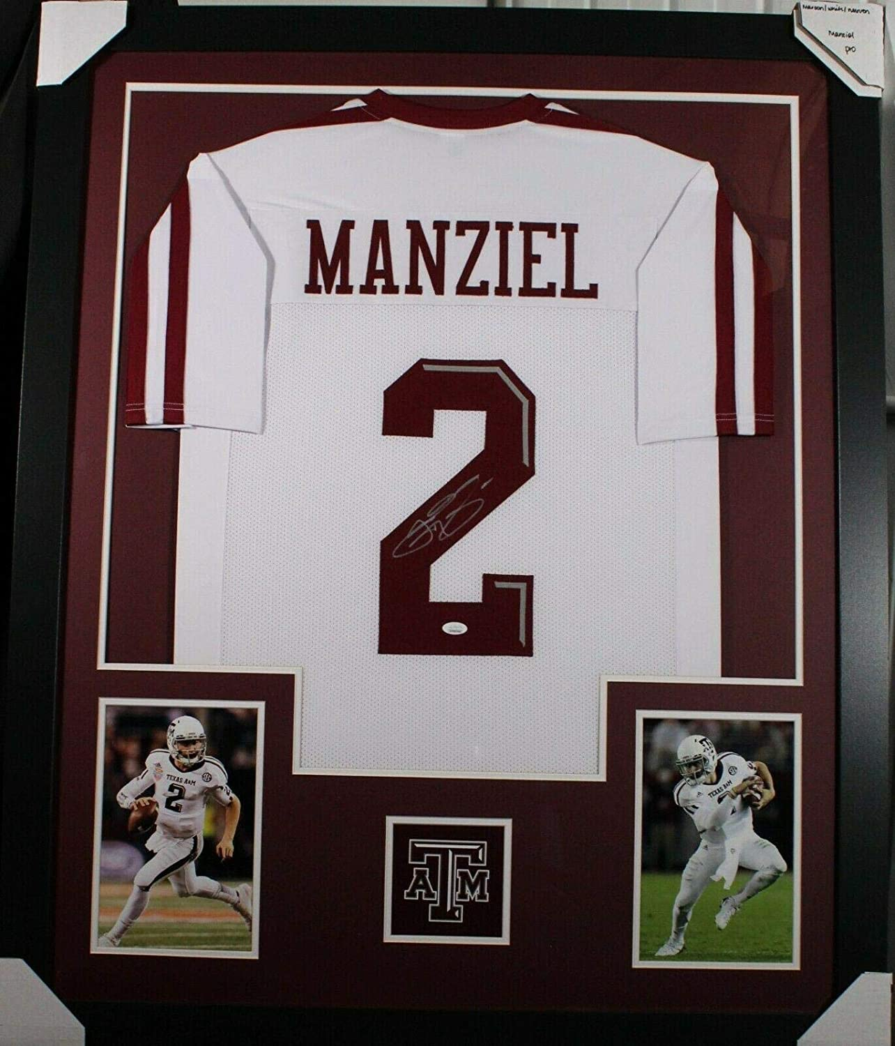 JOHNNY MANZIEL (A&M Aggies white PRO) Signed Autographed Framed Jersey JSA - Autographed College Jerseys