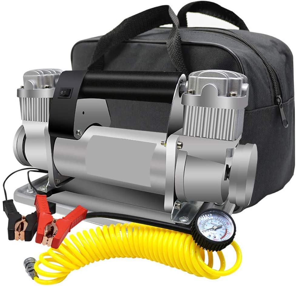 PBQWER Portable 24V Tire Heavy Duty Double Cylinders Air Pump 150PSI Car Tyre Air Pump Tire Inflator for Suvs/Trucks Fast Inflation
