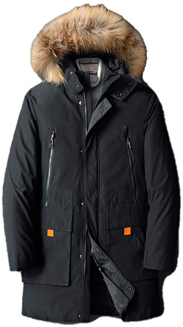DGFWERHY Winter Men Jacket Medium-Long Thicken Plus Size Outwear Male Hooded Coat Slim Parka Cotton Padded Jacket Overcoat
