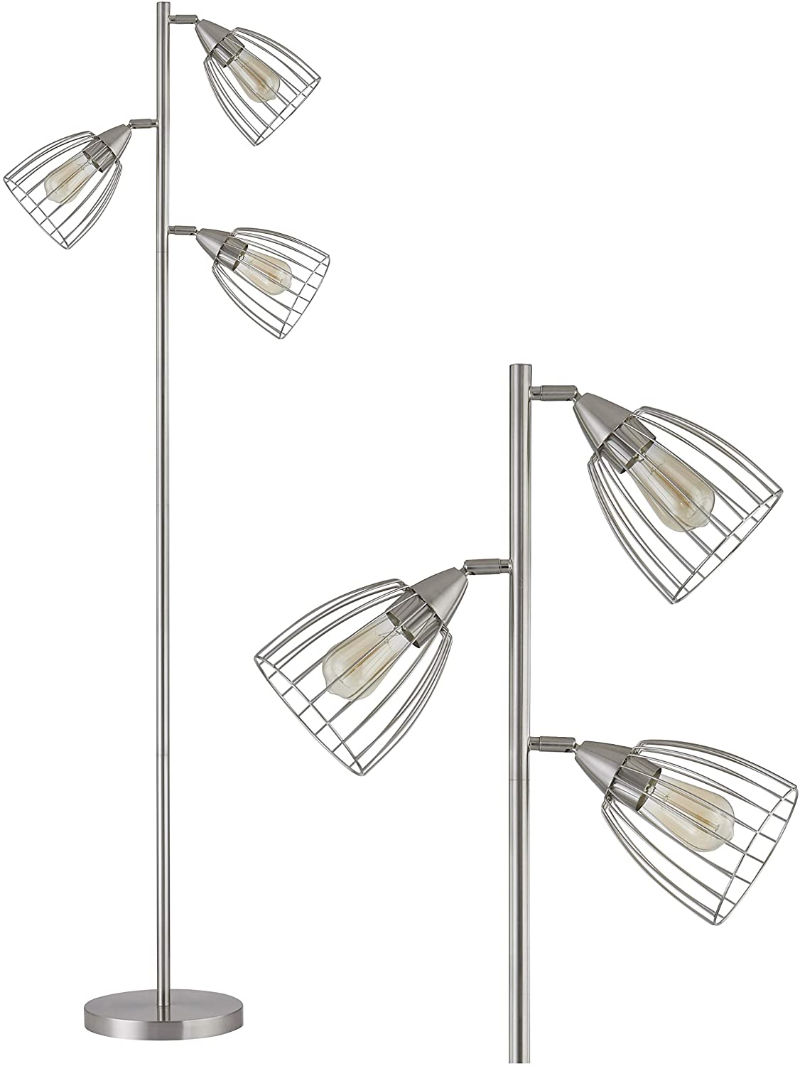 WOXXX Industrial Floor Lamp for Living Room Bright Lighting Tall Stand Up Lamp Farmhouse Rustic Modern Tree Floor Lamps for Bedrooms, Office with Reading Light Standing Lamp Chrome(3 Bulbs Included)