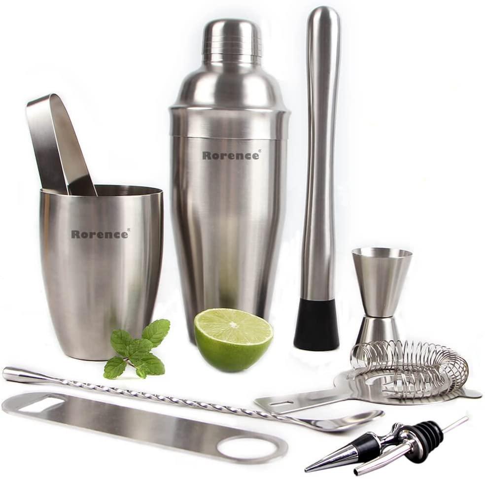 Rorence 11 Piece Stainless Steel Cocktail Bar Set -Bartender Shaker Kit Includes Cocktail Shaker, Muddler, Double Jigger
