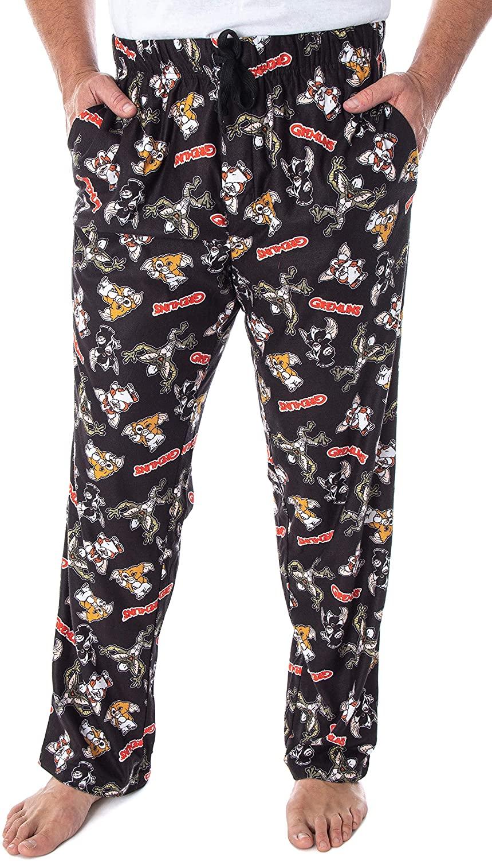 INTIMO The Gremlins Mens Gizmo Stripe Daffy Mogwai Allover Character Adult Sleep Lounge Pajama Pants