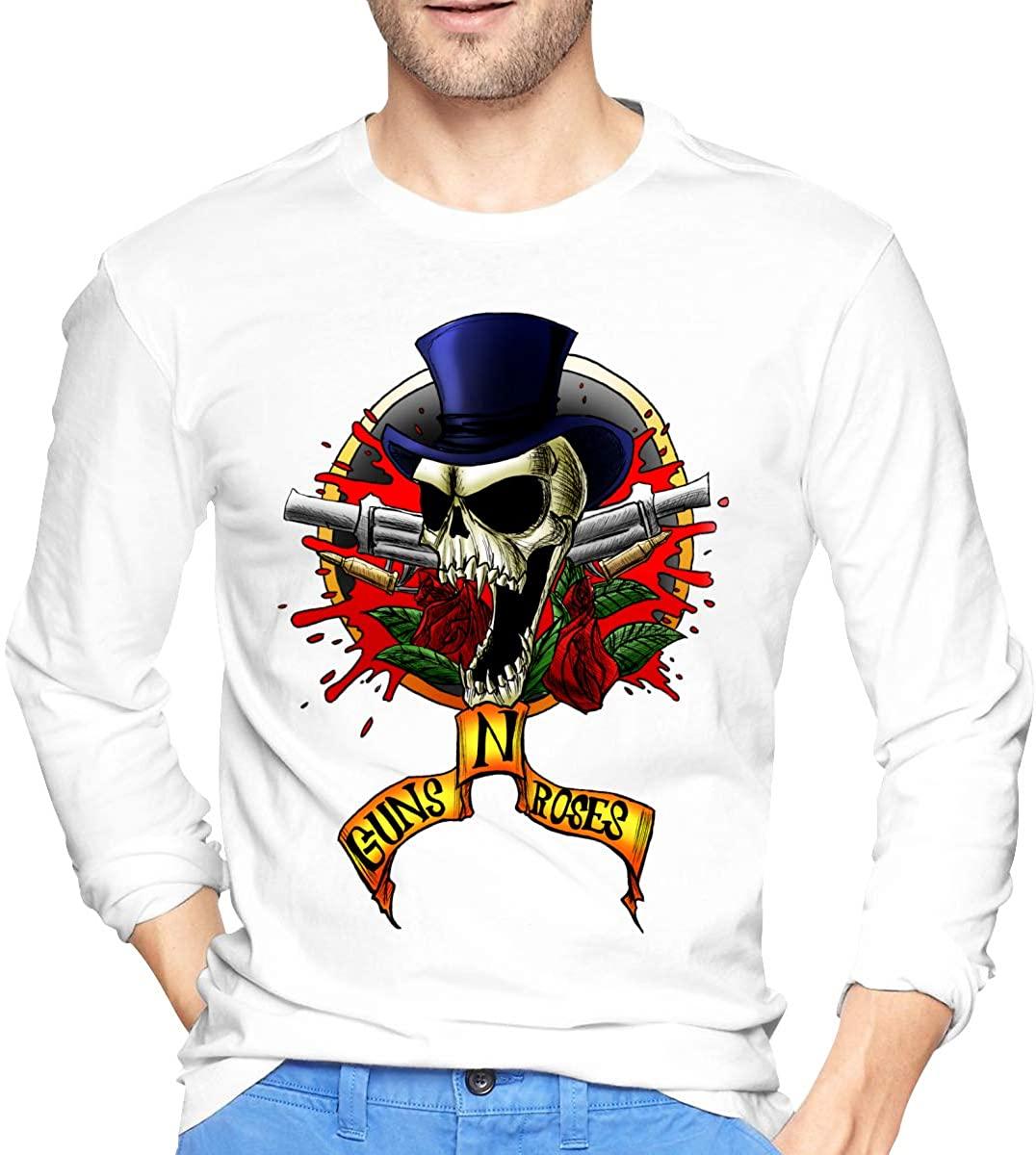G-U-N-S N R-Os-E Men's Long Sleeve T-Shirts White