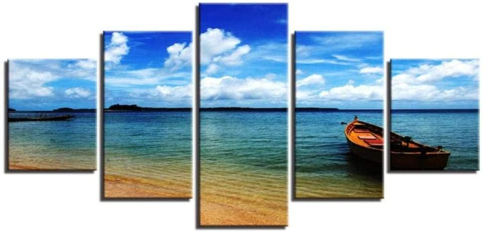 SYJX Canvas Wall Art Pictures Home Decor Hd Prints Poster 5 Pieces Blue Sky Cloud Beach Boat Seascape Paintings Living Room-with Frame