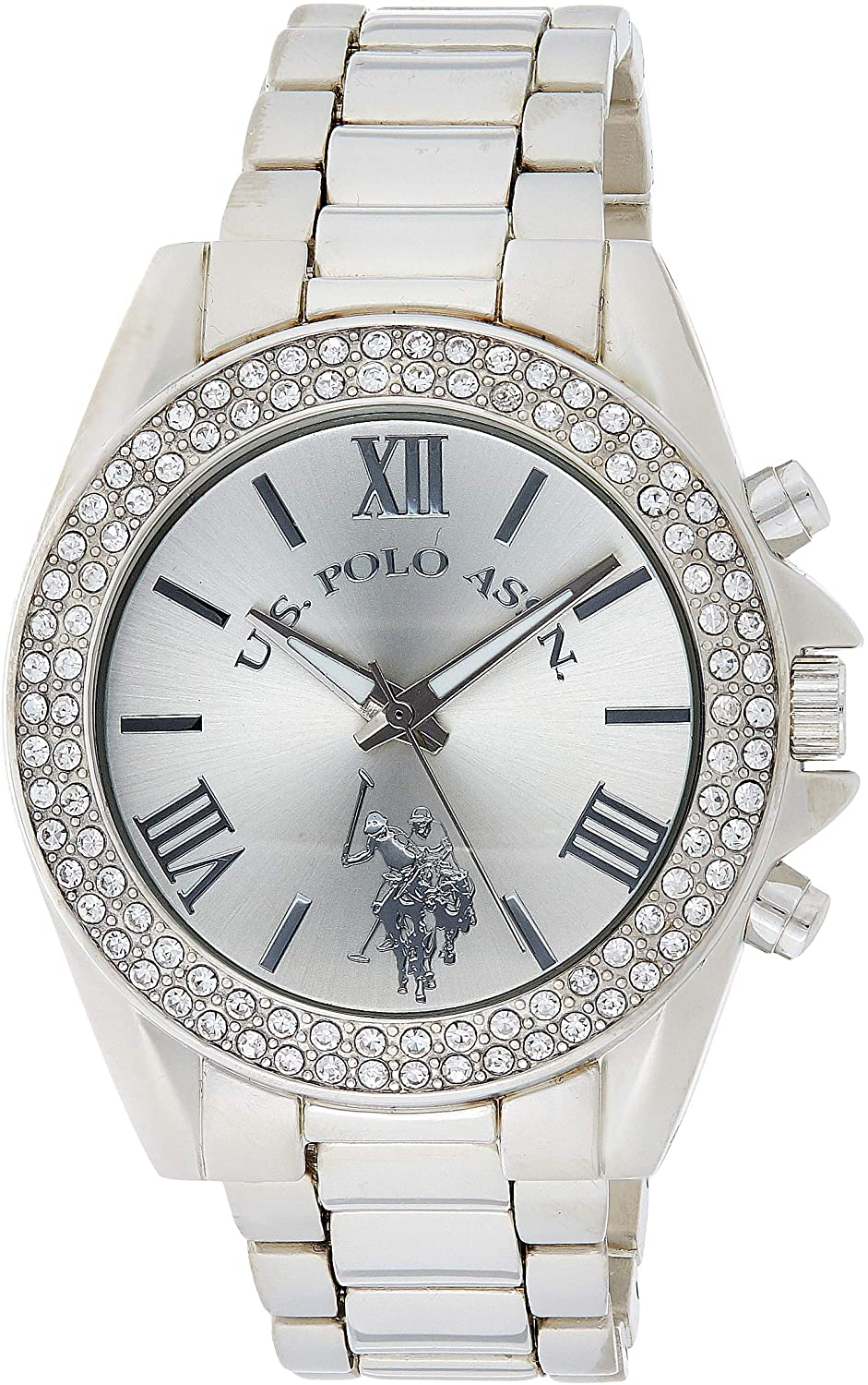 U.S. Polo Assn. Women's USC40035 Rhinestone-Accented Silver-Tone Watch