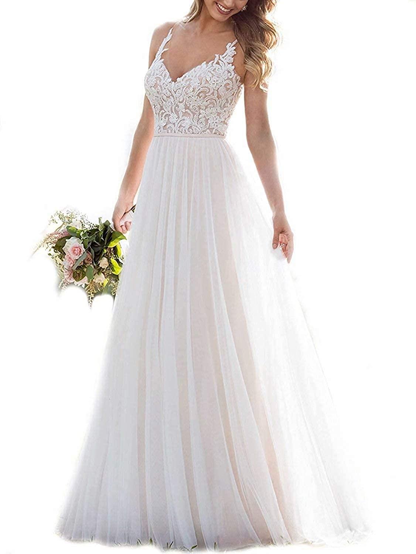 ShipXO Women's V Neck Appliques Wedding Dress for Bride 2020 Illusion Back Boho Bridal Gowns W17