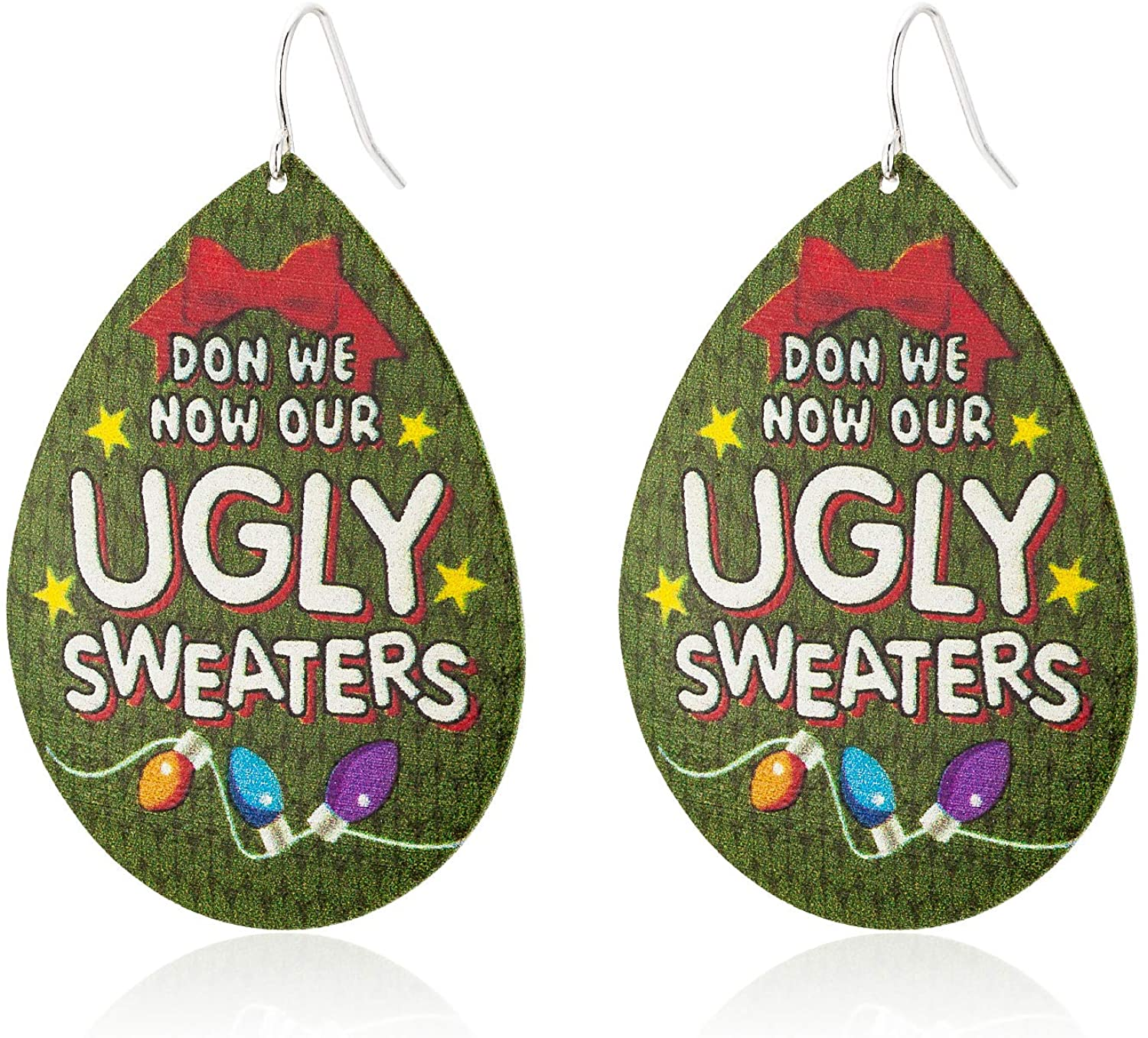 Unijew Christmas Green Water-drop Type Metal Earrings for Girls Women, Celebration Decoration Dangle Earrings, Engraved with ' Don We Now Our Ugly Sweaters ', Cute Christmas Gift for Women