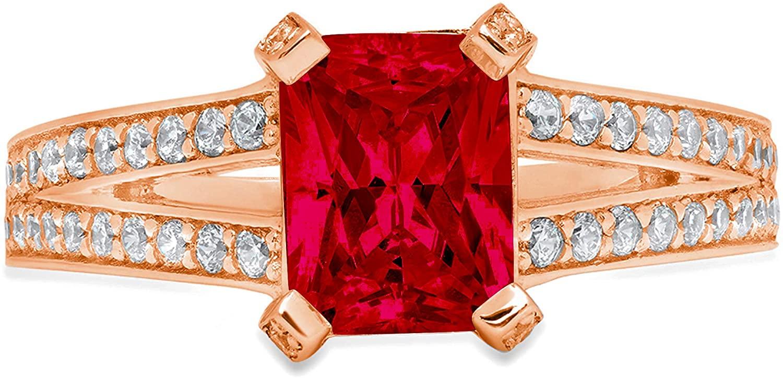 2.70 ct Emerald Cut Solitaire with Accent split shank Natural Deep Pomegranate Dark Red Garnet Gemstone Ideal VVS1 Engagement Promise Statement Anniversary Bridal Wedding Ring 14k Rose Pink Gold