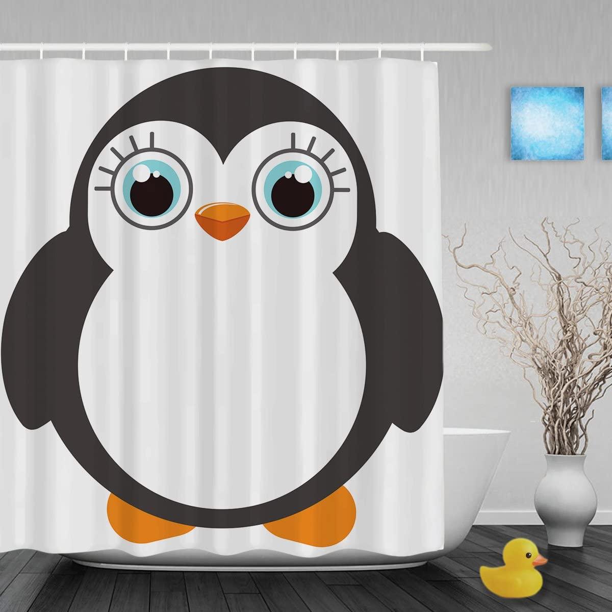 Cute Fat Penguin Decor Bathroom Shower Curtain Cartoon Animals Designed Shower Curtains Waterproof Mildewproof Polyester Fabric 36